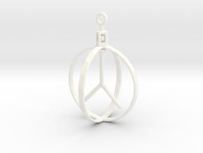 Peace Pendant (Spinning center) in White Processed Versatile Plastic