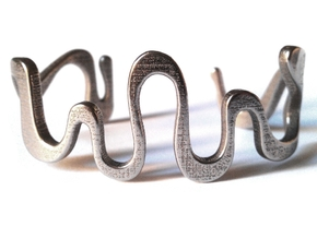 SNAKE cuff in Polished Bronzed Silver Steel: Medium