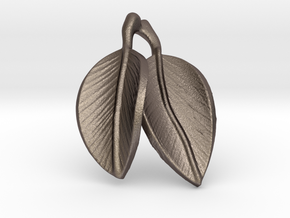 leaves pendant in Polished Bronzed Silver Steel