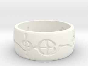 """Ashayam"" Vulcan Script Ring - Engraved Style in White Processed Versatile Plastic: 6 / 51.5"