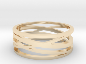 Abstract Lines Ring - US Size 12 in 14K Yellow Gold