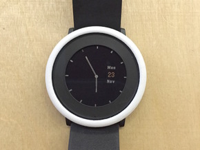 Pebble Time Round cover / bumper (fits all) in White Strong & Flexible Polished