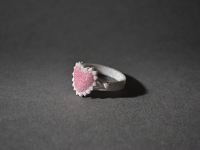 Crystal Heart Ring in White Natural Versatile Plastic