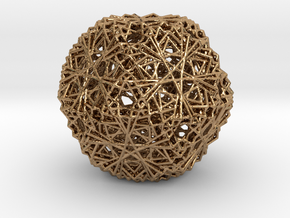 30 Cuboctahedron Compound, Wireframe in Polished Brass