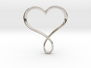Heart Infinity Pendant in Rhodium Plated Brass