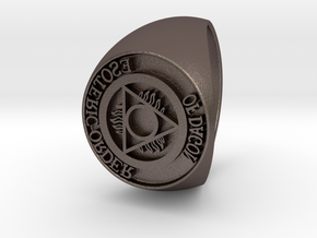 Esoteric Order Of Dagon Signet Ring Size 12.5 in Polished Bronzed Silver Steel
