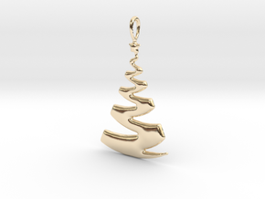 Christmas Tree Ribbon Pendant in 14k Gold Plated Brass