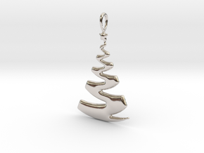 Christmas Tree Ribbon Pendant in Rhodium Plated Brass