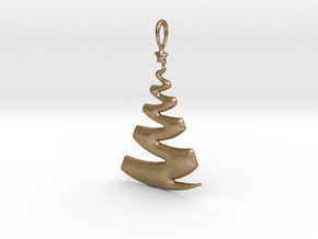 Christmas Tree Ribbon Pendant in Polished Gold Steel