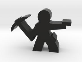 Game Piece, Guy Adventurer with pickaxe, gun in Black Natural Versatile Plastic