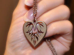 Heart Pendant in Polished Bronzed Silver Steel