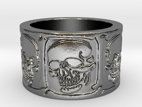 Skulls and Bones Ring Size 8 in Polished Silver