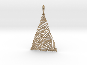Christmas Tree Pendant 3 in Polished Gold Steel