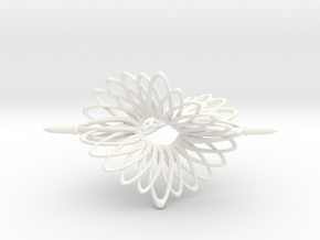 Spinner Floral Tri Twist - 7cm in White Strong & Flexible Polished