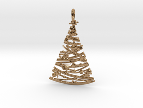 Christmas Tree Pendant 4 in Polished Brass