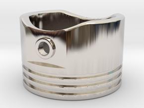 Piston - US Size 8 in Rhodium Plated Brass