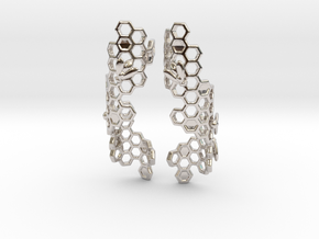 Bees and Honeycomb Earrings in Platinum
