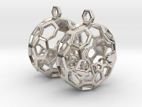 Bees and Honeycomb Earrings - Circular in Platinum