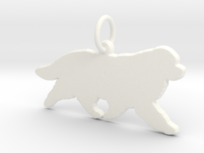 Newfoundland dog silhouette pendant 3d printed  in White Processed Versatile Plastic