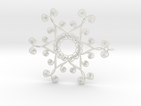 Suessish Snow Flake - 7cm in White Natural Versatile Plastic