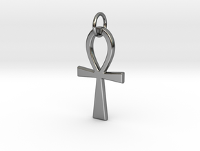 Ankh Pendant or Keychain in Fine Detail Polished Silver