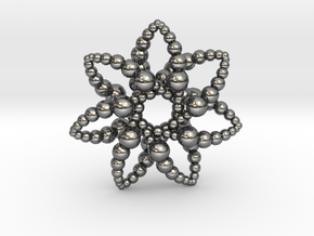 Bubble Star 7 Points - 4cm in Fine Detail Polished Silver