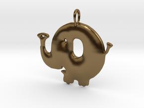 Baby Elephant Pendant in Polished Bronze