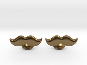 Moustache Cufflinks in Polished Bronze