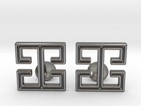 I cufflinks in Polished Nickel Steel