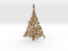 Christmas Tree Pendant 7 in Polished Brass