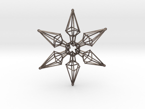 6 Point Ninja Star - 7cm in Polished Bronzed Silver Steel