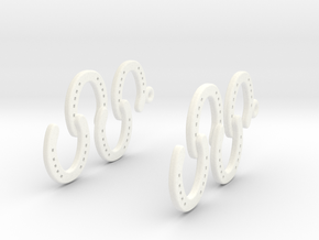 Horseshoe Earring in White Processed Versatile Plastic