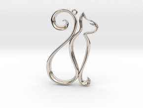 The Cat Pendant in Rhodium Plated Brass