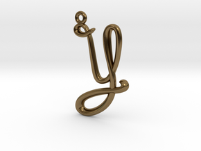 Y Initial Charm in Polished Bronze