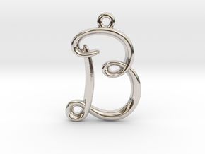 B Initial Charm in Rhodium Plated Brass