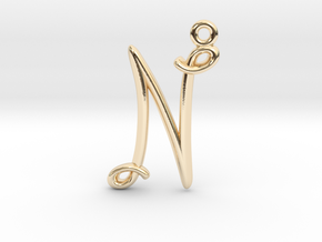 N Initial Charm in 14K Yellow Gold