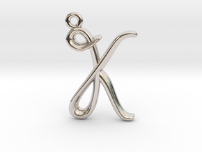 K Initial Charm  in Rhodium Plated Brass