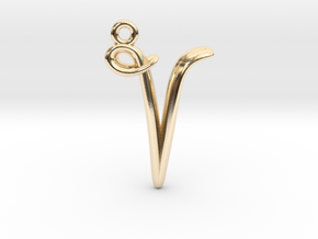 V Initial Charm in 14k Gold Plated Brass