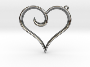 The Heart Pendant in Fine Detail Polished Silver
