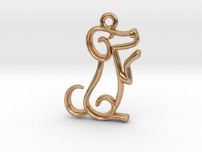 Tiny Dog Charm in Polished Bronze