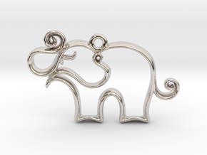 Tiny Elephant Charm in Rhodium Plated Brass