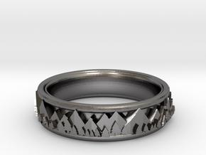 Mountain Landscape Ring, size 11 in Polished Nickel Steel