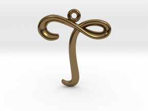 T Initial Charm in Polished Bronze