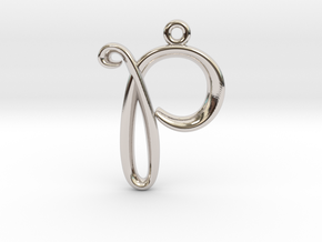 P Initial Charm in Rhodium Plated