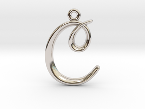 C Initial Charm in Rhodium Plated Brass