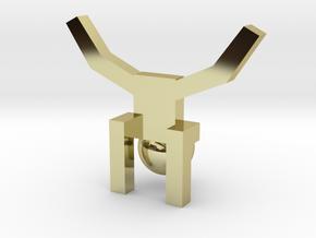 Board Game 'Tsumi Yoga' Block#3 in 18k Gold Plated Brass
