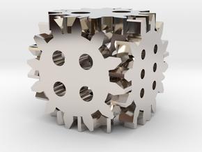Steampunk gear die in Rhodium Plated Brass