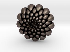 chrysanthemum -kiku- in Polished Bronzed Silver Steel