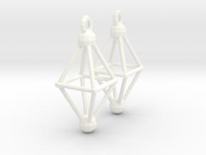 Octahedron Earrings in White Processed Versatile Plastic