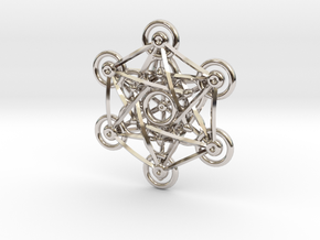 Metatron's Cube - 5cm in Rhodium Plated Brass